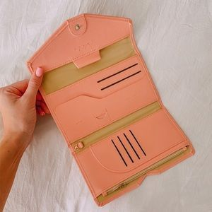 Brand new light pink passport holder + wallet